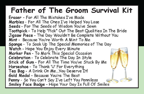 Father Of The Groom Survival Kit In A Can